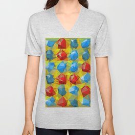 geometric polygon abstract pattern yellow blue red Unisex V-Neck