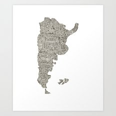 Lettering map of Argentina Art Print