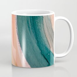 Breathe: a vibrant bold abstract piece in greens, ochre, and pink Coffee Mug