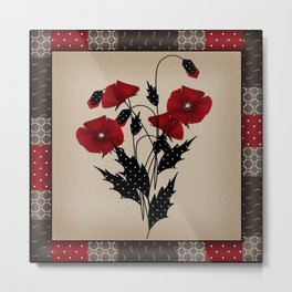 Flowers Art Poppies. Patchwork Metal Print