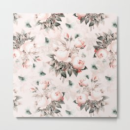 Vintage & Shabby Chic - Pink Redouté Roses Flower Bunches Metal Print