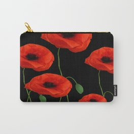 BLACK ART DECO RED POPPIES DESIGN Carry-All Pouch
