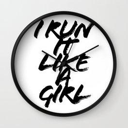 I Run It Like A Girl Grunge Caps Wall Clock