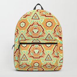 Fiesta of Triangle Pyramid Floral Dots , Turquoise, Orange and Brown Mexican Style Backpack