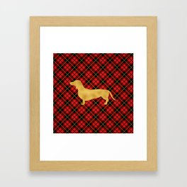 Red Plaid Dachshund Framed Art Print