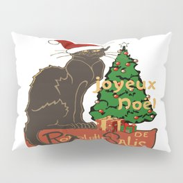 Joyeux Noel Le Chat Noir With Tree And Gifts Pillow Sham