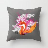 kitsune Throw Pillows featuring Kitsune by Mazuki Arts