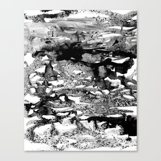 Dexa - black and white minimal abstract painting brushstrokes artwork modern home decor piece Canvas Print