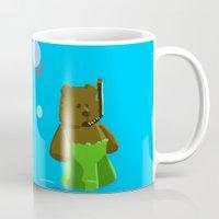 scuba Mugs featuring Scuba Bear by jason sharpe
