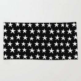 Star Pattern White On Black Beach Towel