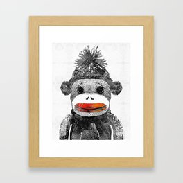 Sock Monkey Art In Black White And Red - By Sharon Cummings Framed Art Print
