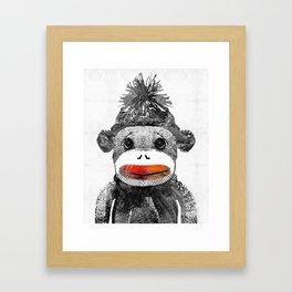 Sock Monkey Art In Black White And Red - By Sharon Cummings Framed Art Print