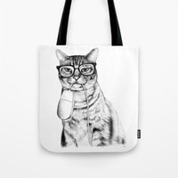 meow Tote Bags featuring Mac Cat by florever