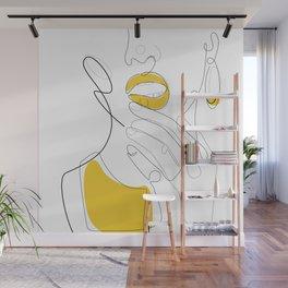 Bold Mustard Lip Wall Mural