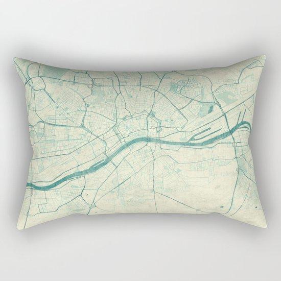 Frankfurt Map Blue Vintage Rectangular Pillow