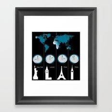 TIME ZONES. NEW YORK, LONDON, PARIS, TOKYO Framed Art Print
