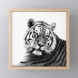 Black and white fractal tiger Framed Mini Art Print