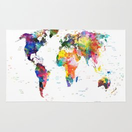 world map political watercolor 2 Rug