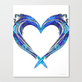 Romantic Abstract Heart Art - Big Blue Love - Sharon Cummings Canvas Print