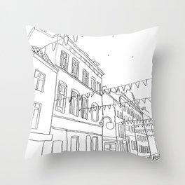 Brussels Street On a Summer Evening Throw Pillow