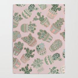 Blush pink mint green rose gold cactus floral Poster