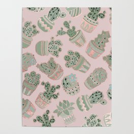 Blush pink mint green rose gold cactus floral Poster