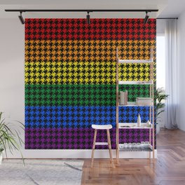 Houndstooth Pride on a Black Background Wall Mural