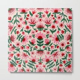 Pink and Red Folksy Floral Print Metal Print