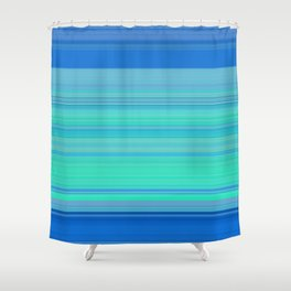 blue turquoise horizontal lines Shower Curtain
