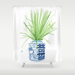 Ginger Jar + Fan Palm Shower Curtain