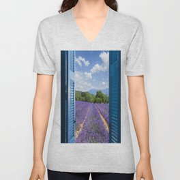 wooden shutters, lavender field Unisex V-Neck