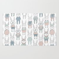 bunnies Area & Throw Rugs featuring BUNNIES by Catalina Graphic