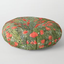 A stroll of poppies Floor Pillow