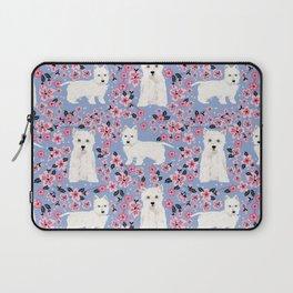 Westie cherry blossoms west highland terrier cutest fluffy white dog breed pattern art Laptop Sleeve