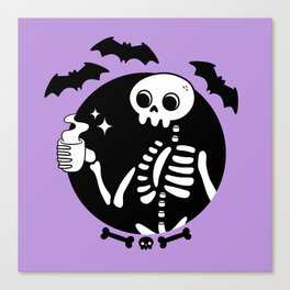 Death Before Decaf // Purple Canvas Print