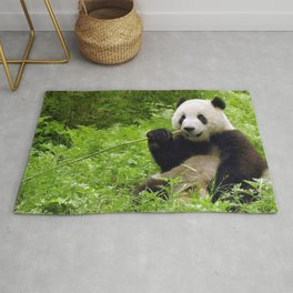 Exotic Super Dainty Grown Panda Bear Chewing On Bamboo Twig In Jungle Close Up Ultra High Res Rug