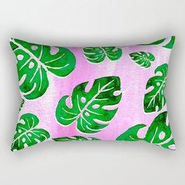 tropical plants on pink Rectangular Pillow