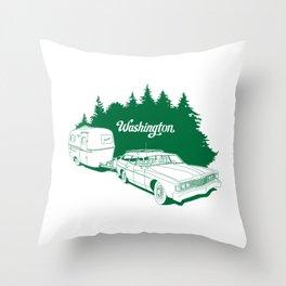 Retro Washington State Road Trip Throw Pillow