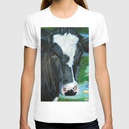 Muddy Fields Cow Painting T-shirt