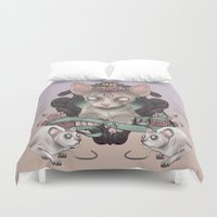 sphynx Duvet Covers featuring Sphynx by AlchemyArt