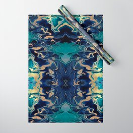 DRAMAQUEEN - GOLD INDIGO MARBLE Wrapping Paper