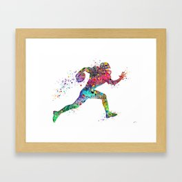 Football Player Sports Art Print Watercolor Print American Football Framed Art Print