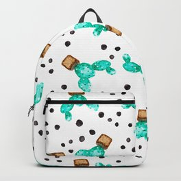 Modern tropical hand painted green cactus watercolor pattern black polka dots Backpack