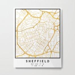SHEFFIELD ENGLAND CITY STREET MAP ART Metal Print