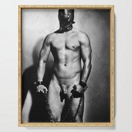 Nude cuffed Slave Boy Serving Tray