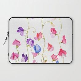 colorful sweet peas flower watercolor Laptop Sleeve