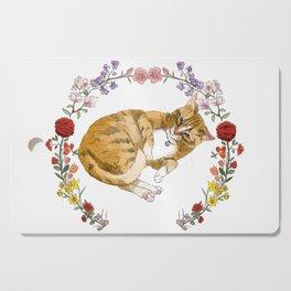 Bon the Cat in Floral Wreath Cutting Board