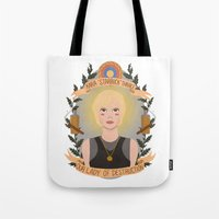 "heymonster Tote Bags featuring Kara ""Starbuck"" Thrace by heymonster"