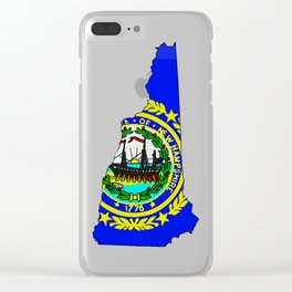 New Hampshire Map with State Flag Clear iPhone Case