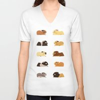 guinea pig V-neck T-shirts featuring Guinea pigs by stephasocks